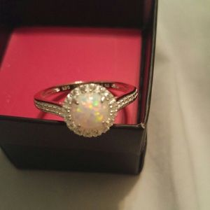 Sterling Silver Ring With Simulated Opal Sz 10 New